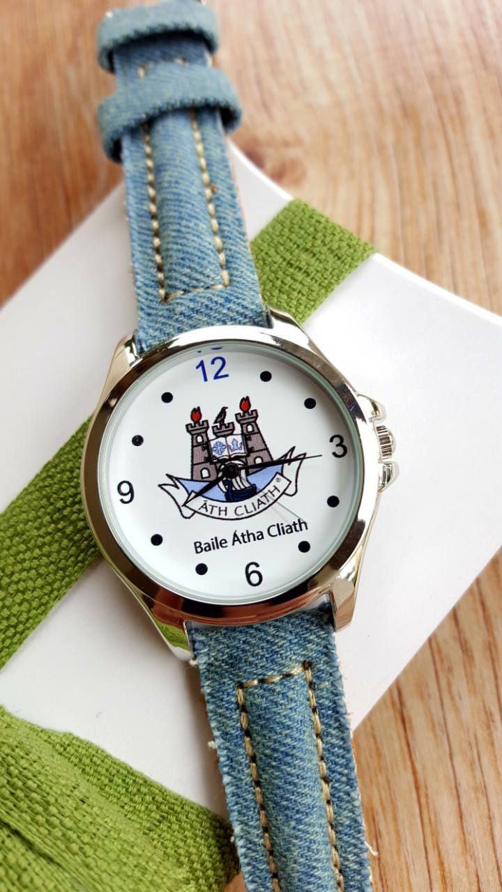 Minimalist Watch with Dublin City Logo, Blue Denim Strap, Irish Watch, GAA Watch, Unisex Watch, Handmade Watch, Unique Gift, Keepsake Watch. by IrishFashionWatches on Etsy