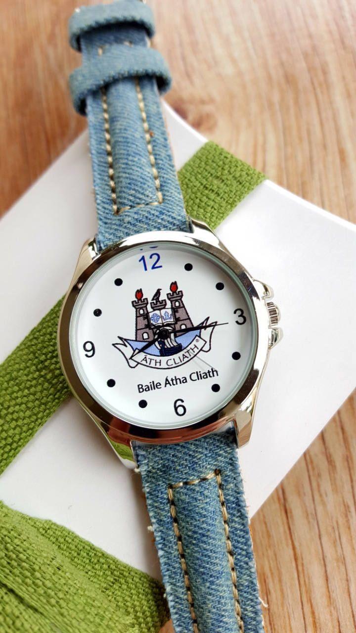 Minimalist Watch with Dublin City Logo, Blue Denim Strap, Irish Watch, GAA Watch, Unisex Watch, Handmade Watch, Unique Gift, Keepsake Watch. by IrishFashionWatches on Etsy