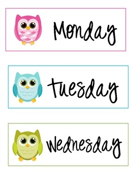 Here are some labels for days of the week.: Classroom Calendar Printable, Owl Theme Classroom Ideas, Week Labels, Free Owl Printable, Owl Classroom Theme Free, Tpt Owlthemedclassroom, Tpt Owl Theme Classroom, Classroom Owl, Owl Labels