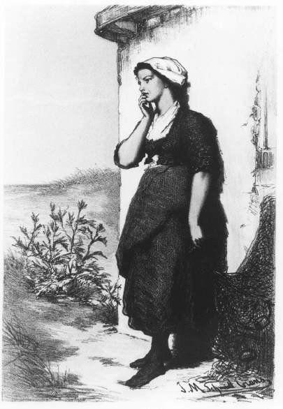 Negentiende-eeuwse Scheveningse dracht. De vissersvrouw draagt een muts met omgeslagen klappen, halsdoek, laaguitgesneden jak en opgeschortte rok met omgeslagen schort, zwarte kousen en schoenen. De vrouw leunt tegen de muur van een huis, in haar linkerhand een visnet. 1871 JM Schmidt Crans; lithografie #ZuidHolland #Scheveningen