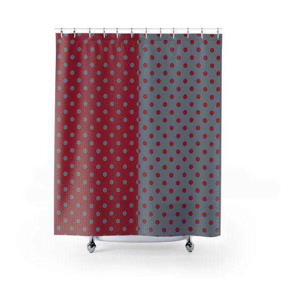 Crimson And Gray Alabama Tide Dot Pattern Shower Curtain Bama Fan Football Home Decor