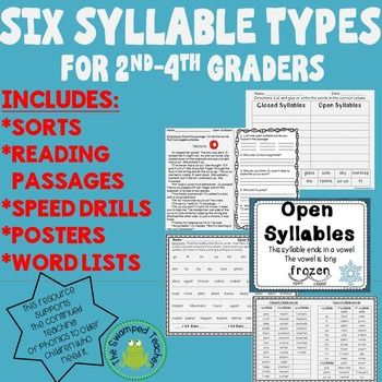 Why teach the six syllable types to older students?Many 2nd, 3rd, 4th, and even 5th graders struggle to read grade level texts. One reason can be a lack of phonics knowledge. Teaching the syllable types to older children can help them break up and read many multisyllabic words they encounter in the more complex texts they are expected to read.