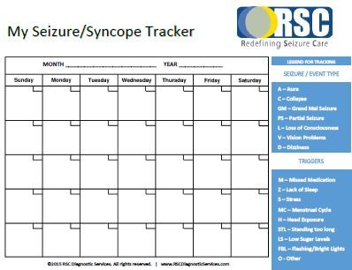 The importance of keeping a seizure calendar for Seizure diary template