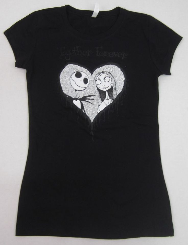 Nightmare Before Christmas T-shirt Jack Sally JUNIORS S-XL Black  #Unbranded #GraphicTee