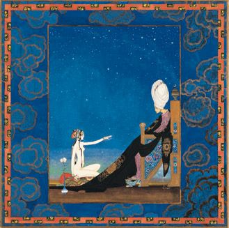 Scheherezade telling tales to the Sultan in order to prolong her life.  illus. Kay Nielsen, 1917