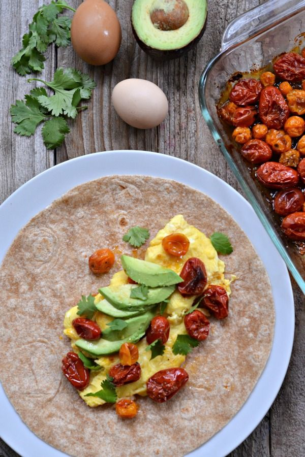 Scrambled Egg and Roasted Tomato Breakfast Burrito....
