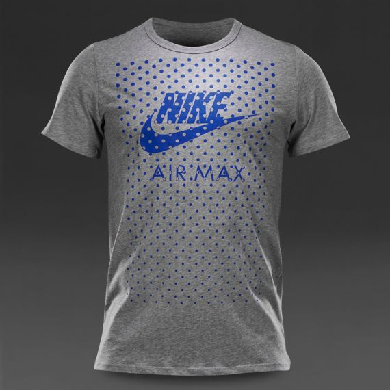 Mens Clothing - Nike Sportswear Tee-Air Max Fill - Dark Grey Heather / Game Royal