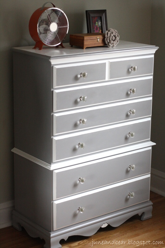 June & Bear: pewter and white chest of drawers.