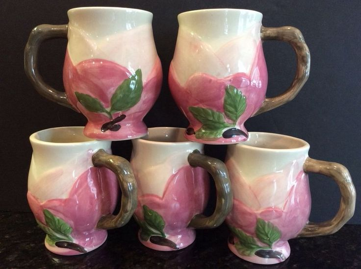 Franciscan Made in Portugal Desert Rose Sculpted Cups ...
