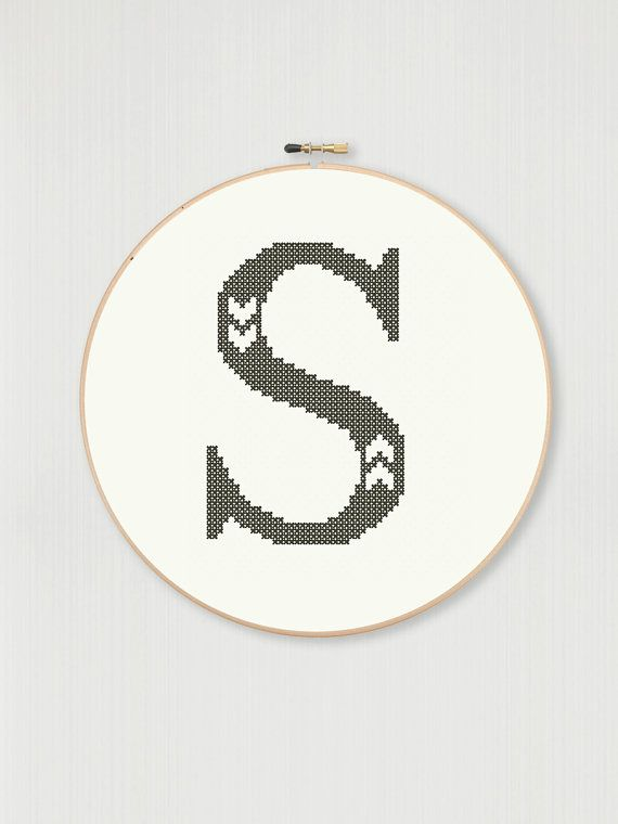 Cross stitch letter S pattern with chevron detail, instant digital download