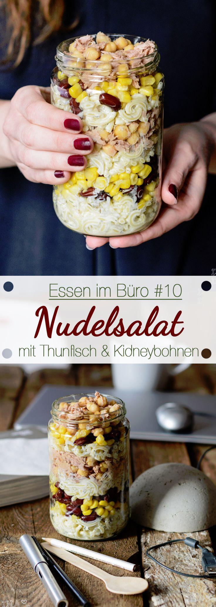 Essen im Büro #10 - Nudelsalat mit Thunfisch, Kichererbsen, Mais & Kidneybohnen