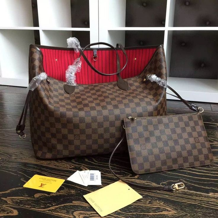 Neverfull Damier with pouch 100% real cowhide leather and canvas