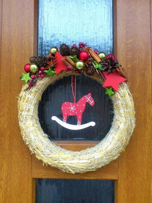 Vánoční věnec na dveře.. Na přírodním základu II. Advent wreath