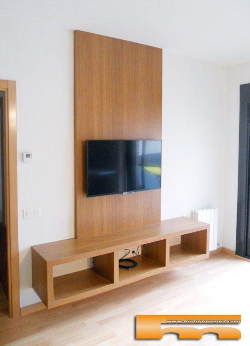 Mueble sal n tv a medida con panel pared realizado en for Muebles salon a medida
