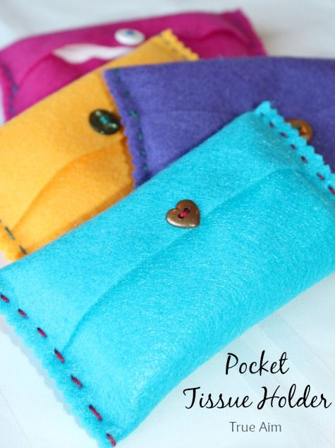 pocket tissue holder, simple sewing project - I'd have C sew on the machine