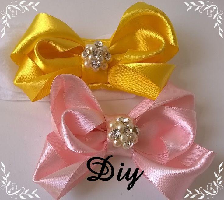 Laço rosa de fita de cetim completo  Pink satin ribbon bow Diy