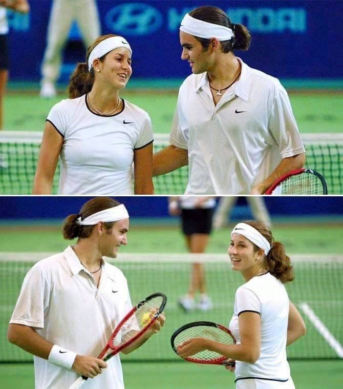 Young Roger Federer and wife Mirka