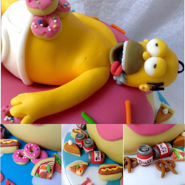 Over-indulgent Homer Simpson on a Giant Donut. Feasting on donuts, Duff beer, pizza, pretzels and hog dogs. Laura's Cake Corner.