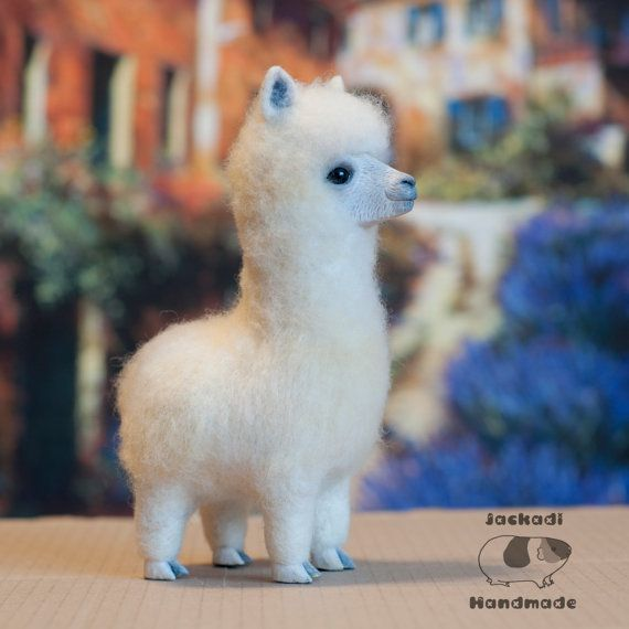 Alpaca OOAK needle felted toy alpaca animal by JackadiHandmade