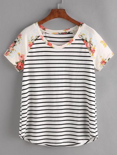 Camiseta de rayas de mangas raglán - negro blanco