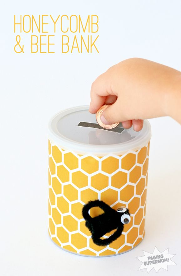 These sweet honeycomb & bee banks are the perfect way to encourage little ones to save for a rainy day.