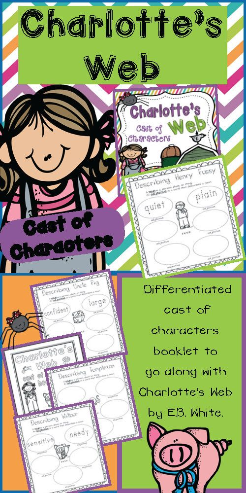 Charlotte's Web Cast of Characters Differentiated Booklet - Perfect addition to a Charlotte's Web unit $