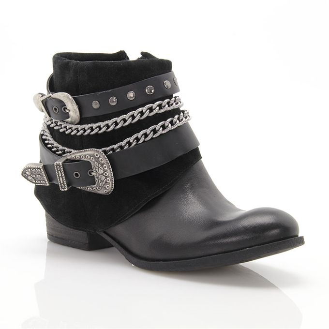 Black ankle boots with chains MOD: 7338L1662