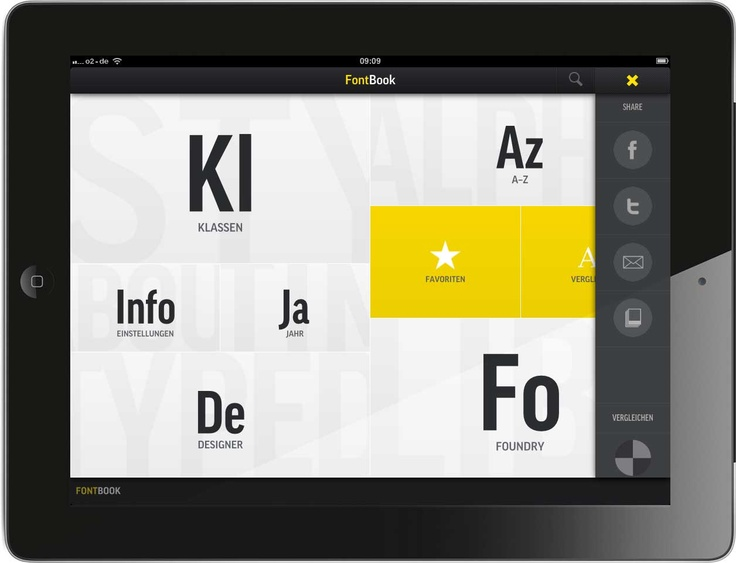 custom UI, fontbook, ipad, spot colour