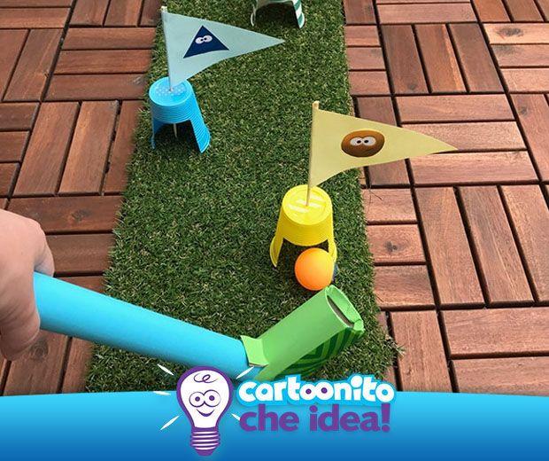 Con pochi materiali da recuperare in casa, il divertimento è assicurato con il kit da golf fai da te di #Cartoonitocheidea! #golf #faidate