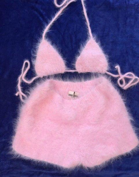 jumpsuit furry shorts furry bra pink two-piece top fur romper cashmere fuzzy fabric mohair bikini top