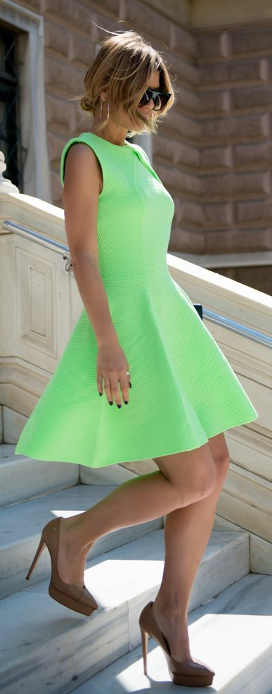 Neon Green Skater Dress by Twin Fashion