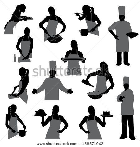 cooking silhouettes - stock vector