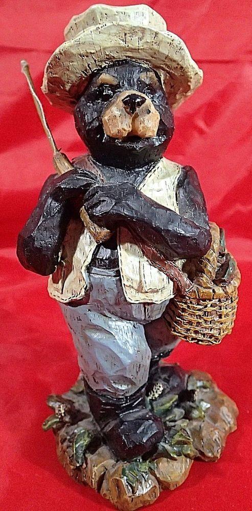 Fisherman Black Bear Figurine Cabin Decor Rustic Lodge Fishing Basket Fish Resin | Cabin Decor ...