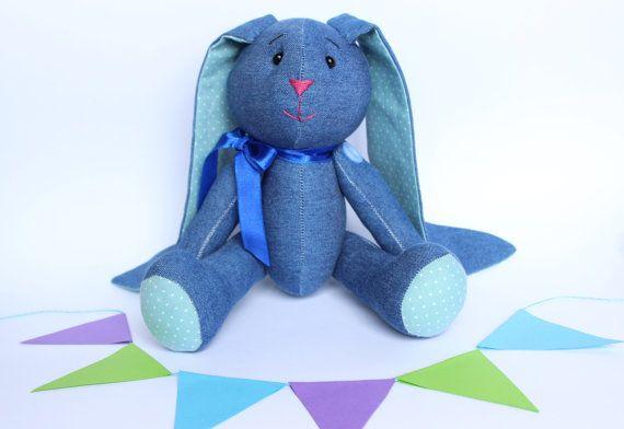 Denim bunny toy Stuffed bunny for baby boy Handmade by TildaArt