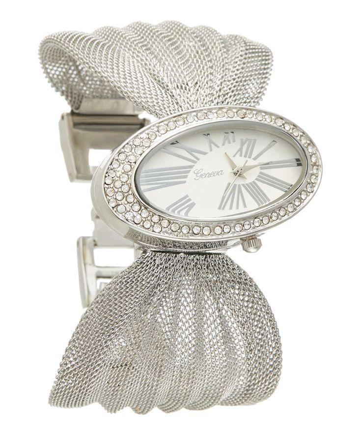 Silvertone Asymmetrical Mesh-Band Bracelet Watch