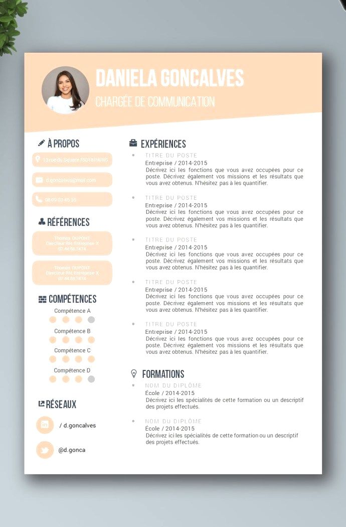 Resume Template With Headshot Photo Cover Letter 1 Page Word Resume Design Diy Cv Template Resume Design Resume Design Creative Cv Template