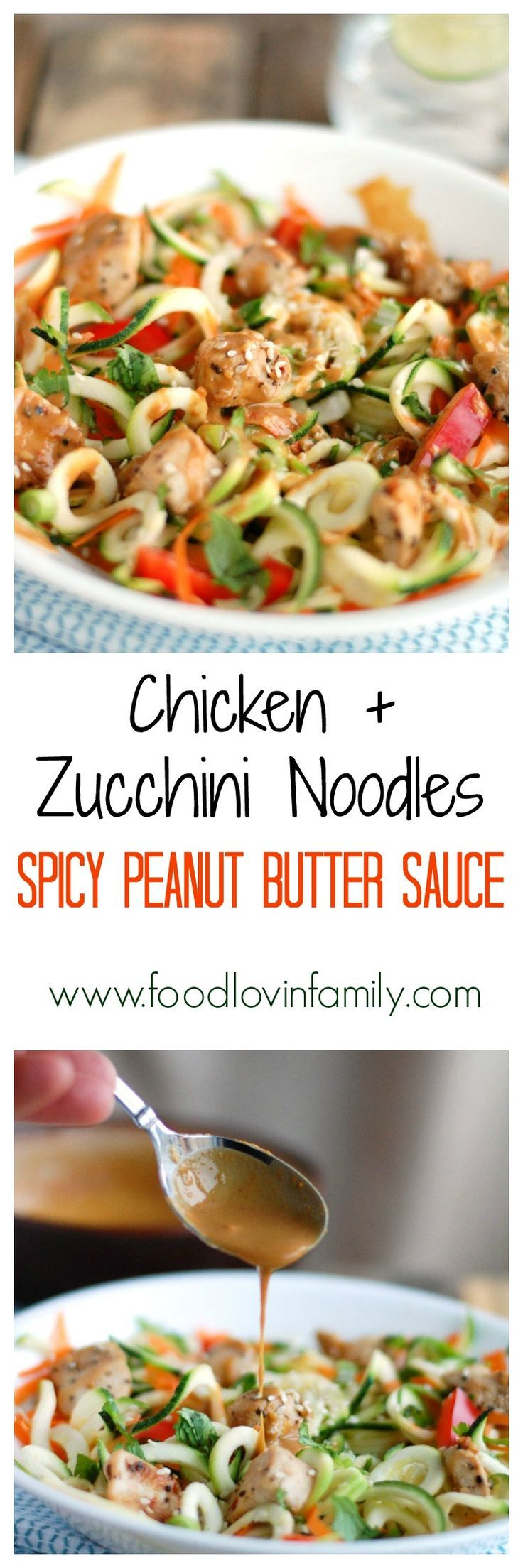Chicken and Zucchini Noodles with Spicy Peanut Butter Sauce is a flavorful and low calorie meal. Great source of protein and veggies.  | http://www.foodlovinfamily.com/chicken-zucchini-noodles-spicy-peanut-butter-sauce/