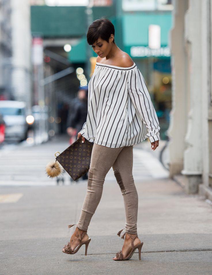 SUEDE & STRIPES SUEDE PANTS MANIERE DE VOIR TOP VICIDOLLS SANDALS VICIDOLLS POUCH26 LOUIS VUITTON Fashion By Kyrzayda