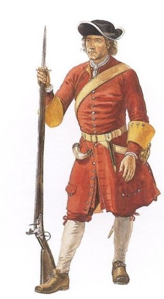 "Soldier from Gibbon's Regiment of Foot in Newfoundland, 1697-98 - ""Gibbon's Regiment was the first regular British army unit to be stationed in present-day Canada. Noteworthy on the English musket of the late seventeenth and early eighteenth centuries is the 'dog lock', a kind of small safety catch attached to the gun lock to hold the hammer. Reconstruction by Gerald A Embleton."""