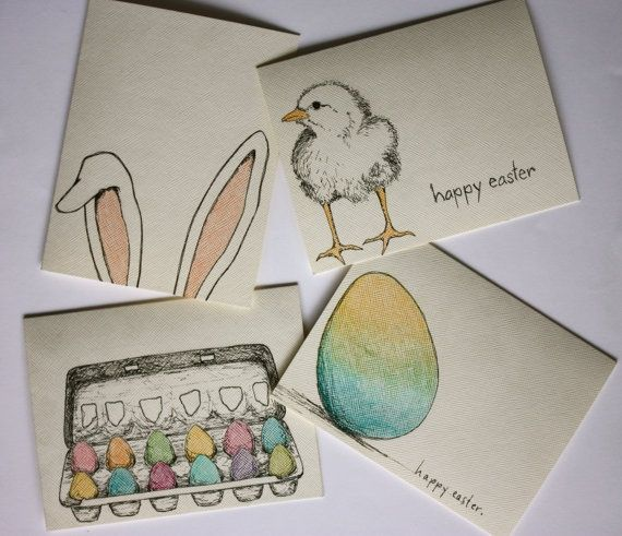 cute hand stamped easter cards | HAND DRAWN OOAK Easter Cards (set of 4)