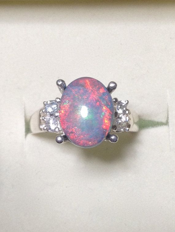 Amazing Australian Black Opal Ring with Genuine by OpalEmbers