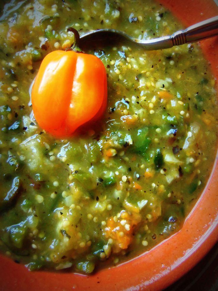 Blackened Tomatillo salsa ( I used 12 tomatillos, 2 Anaheim peppers,2 habaneros, one onion, 4 Garlic.)