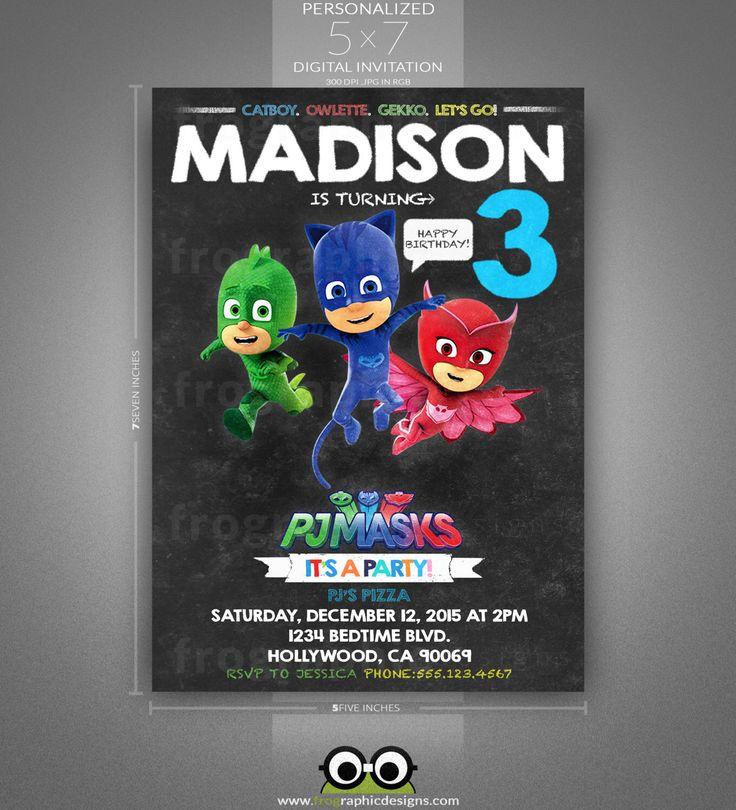 FREE PJ Masks Birthday Party Printable Files Invitations Bellas