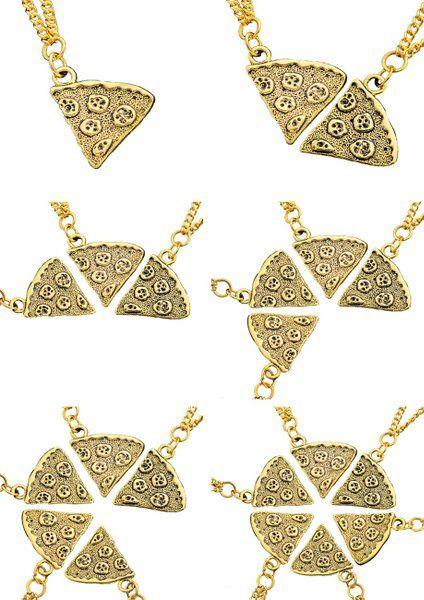 MJARTORIA Antik Gold Farbe Pizza Slice Halskette freundschaftsketten Stück 6