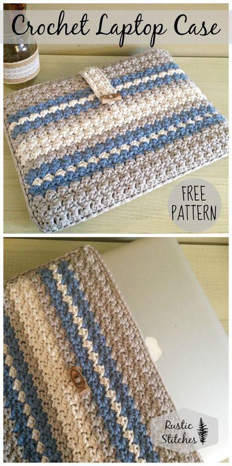 Crochet Laptop Case By Jessica Eliason - Free Crochet Pattern - | Use your favorite colors to create a custom laptop case - so cute!