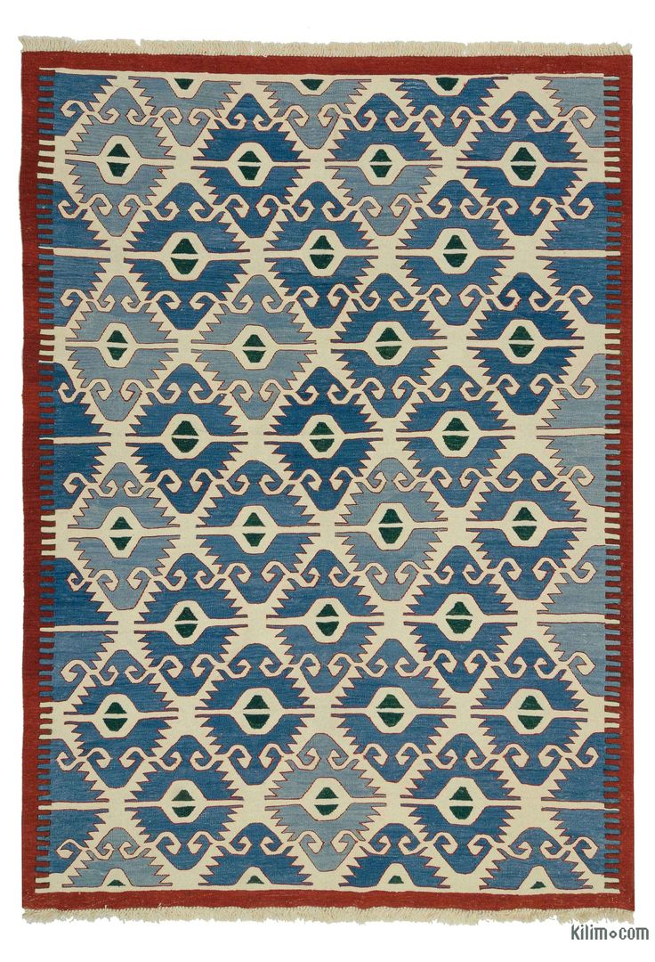 Beautifully transform your living space with our handmade, authentic and timeless new kilim rugs that carry with them many of the traditional elements that made true vintage Turkish Kilim rugs so precious. Each kilim is skillfully hand-woven in Turkey to create a beautiful piece of art. We use vegetable dyed and hand spun wool to make sure they age gracefully.This fine blue, light blue rug measures 205 cm x 285 cm. We can customize it by adding your monogram or removing the fringes upon req…