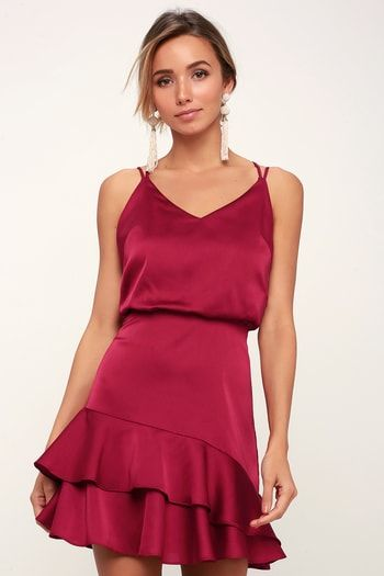 15c7d32212 On the Floor Fuchsia Satin Ruffle Dress