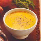 Aardappelsoep van zoete aardappelen, kokos en limoen. -1 limoen + extra rode peper