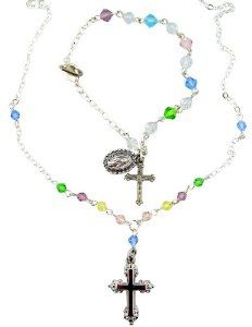 "Girls Holy First Communion Multi Color Crystal Bead Silver Plate Necklace with Charm Bracelet Set Gift Boxed Needzo Religious Gifts. $24.95. Comes Gift Boxed. Makes a great gift!. Necklace: 16"" L / Bracelet: 6 1/2"" L. Silver Plate / Crystal Bead"