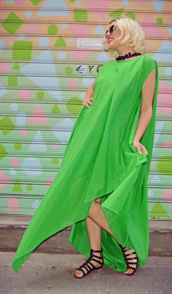 Extravagant Green Kaftan / Asymmetrical Maxi Dress / Green